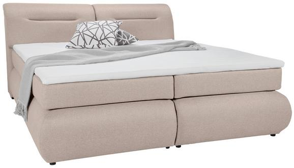 Boxspringbett Beige 180x200cm - Beige/Schwarz, Kunststoff/Textil (240/190/100cm) - Premium Living