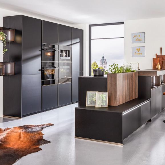 Einbauküche Flair in Schwarz/edelstahl Nb - Schwarz, MODERN, Holzwerkstoff (300/342,2cm) - Nolte Küchen