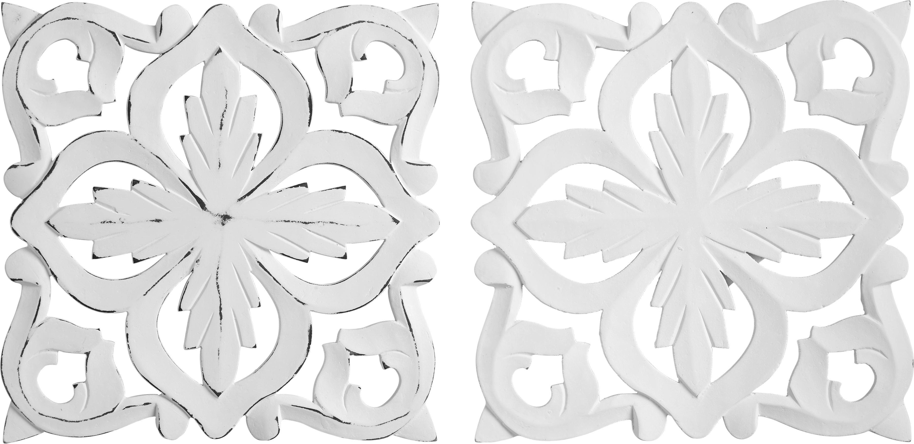 Wanddeko Krishna ca. 30/30cm - Weiß, ROMANTIK / LANDHAUS, Holzwerkstoff (30/30cm) - MÖMAX modern living