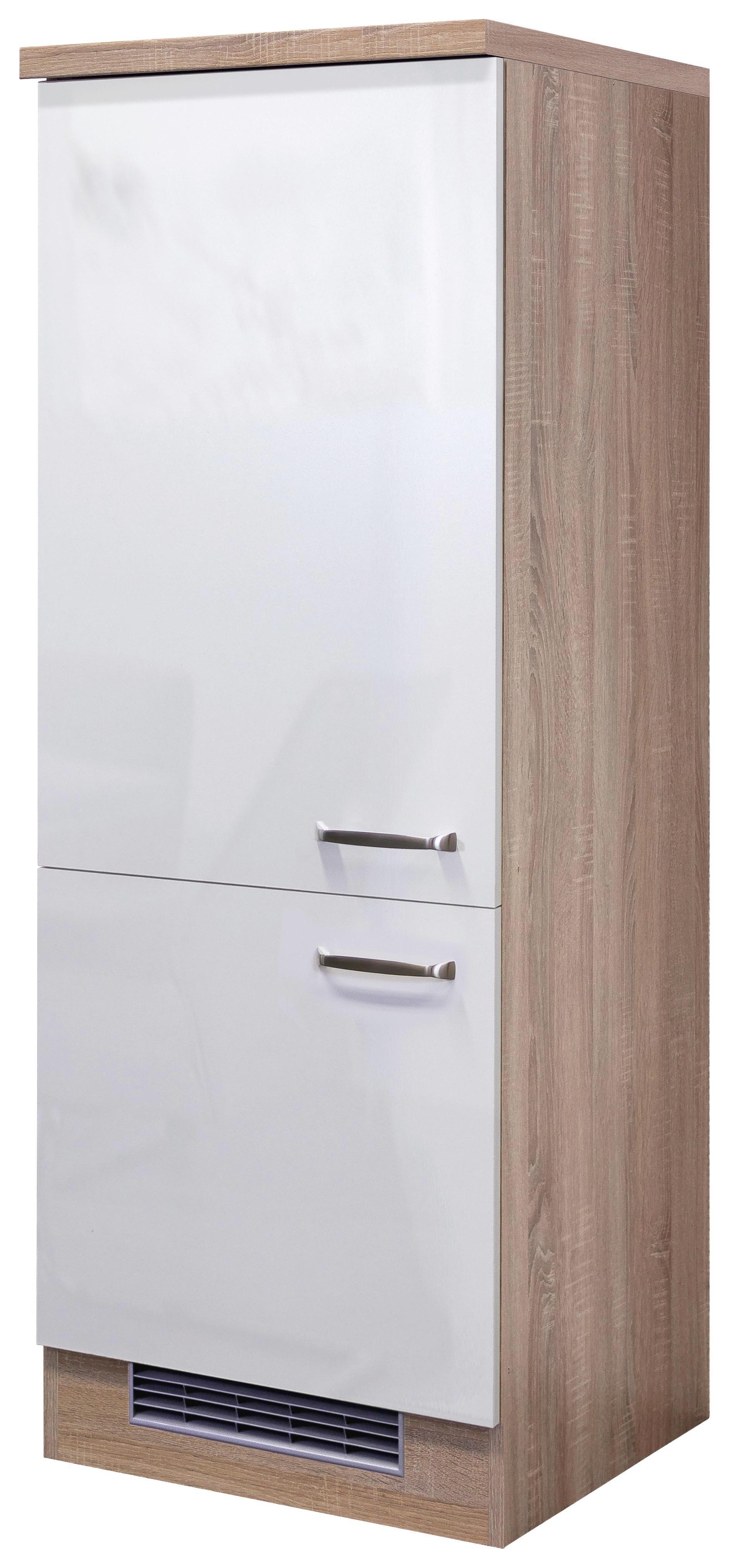 Geräteumbauschrank Weiß Hochglanz/eiche - Edelstahlfarben/Eichefarben, MODERN, Holzwerkstoff/Metall (60/162/57cm)
