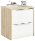 Nachtkommode Weiß/Eichefarben 2er Set - Eichefarben/Alufarben, KONVENTIONELL, Holzwerkstoff/Kunststoff (50/54/40cm) - Premium Living
