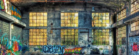 Glasbild Industrial, ca. 50x125x2cm - Multicolor, LIFESTYLE, Glas (50/125/2cm)