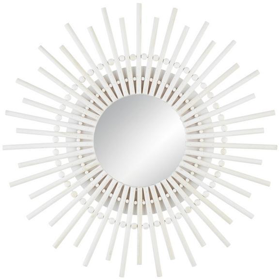 Wandspiegel Alina in Weiß - Weiß, Natur, Glas/Holz (59/59/2,5cm) - Modern Living