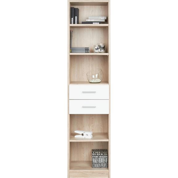 Regal Weiß/Eichefarben - Eichefarben/Weiß, Holz/Holzwerkstoff (47/197/38cm) - Modern Living