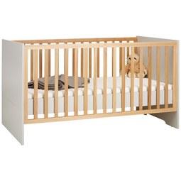 Bett in Hellgrau/Buchefarben - Buchefarben/Hellgrau, KONVENTIONELL, Holzwerkstoff (70/140cm) - Premium Living