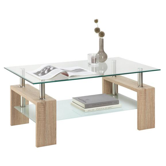 Klubska Mizica Antonio - hrast, Moderno, steklo/leseni material (100/45/60cm) - Mömax modern living