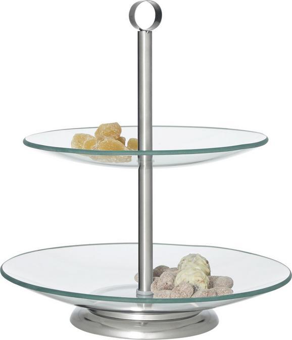 Etažer Leonie - prozorna/nerjaveče jeklo, kovina/steklo (21+25cm) - Mömax modern living