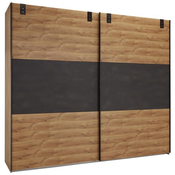 Omara Z Drsnimi Vrati Alabama - hrast/rjava, Romantika, leseni material (250/218/65cm) - Premium Living