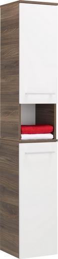 Hochschrank Weiß/Walnussfarben - Chromfarben/Walnussfarben, MODERN, Glas/Holzwerkstoff (31/177/32cm) - Premium Living