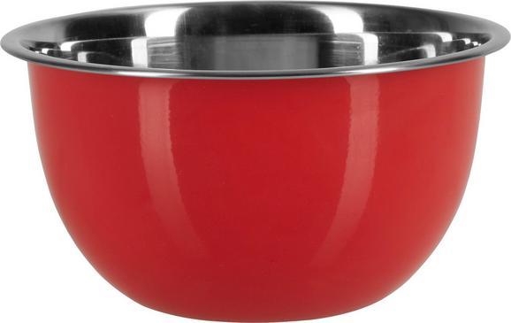 Schüssel Dani aus Edelstahl Ø ca. 18cm - Edelstahlfarben/Rot, Metall (18/9,5cm) - Mömax modern living