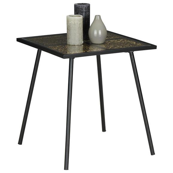 Beistelltisch in Schwarz/Goldarben - Goldfarben/Schwarz, LIFESTYLE, Glas/Holzwerkstoff (44,5/48,5/44,5cm) - Modern Living