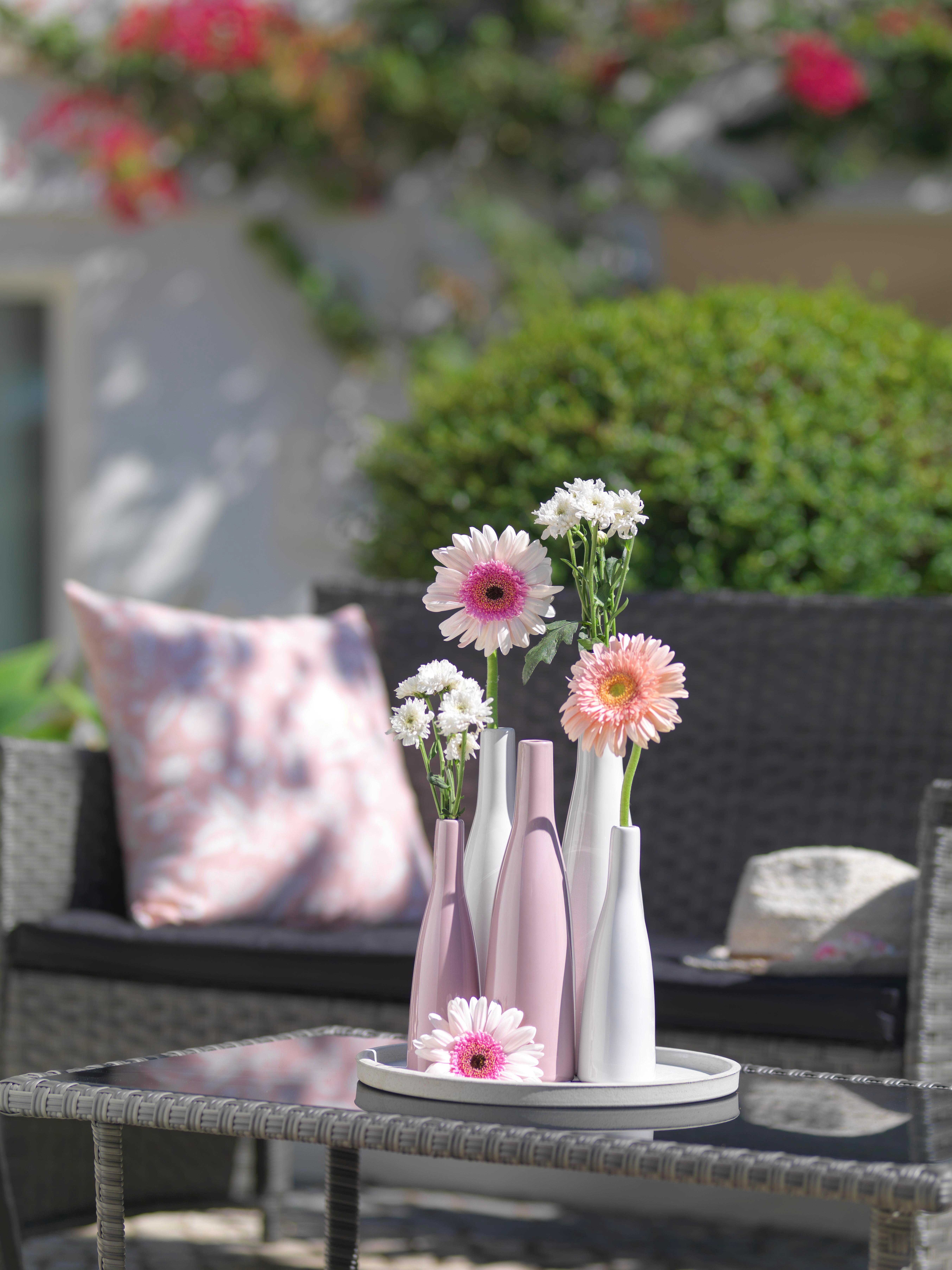 Vase Plancio aus Keramik in Rosa - Rosa, KONVENTIONELL, Keramik (20,5cm)