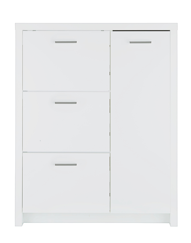 Schuhschrank in Weiß Hochglanz - Alufarben/Weiß, Holzwerkstoff/Metall (101,5/127,5/28cm) - MÖMAX modern living