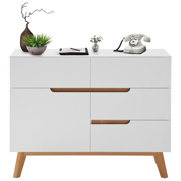 Kommode in Weiß/Eichefarben - Eichefarben/Weiß, MODERN, Holz/Holzwerkstoff (97/76/41cm) - Premium Living