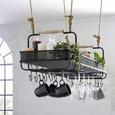 Element Suspendat Constantin - culoare natur/negru, Modern, compozit lemnos/lemn (120/35/41cm) - Premium Living