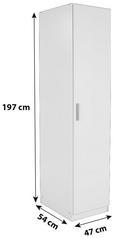 Omara Za Oblačila Celle - aluminij, Moderno, umetna masa/leseni material (47/197/54cm) - Premium Living