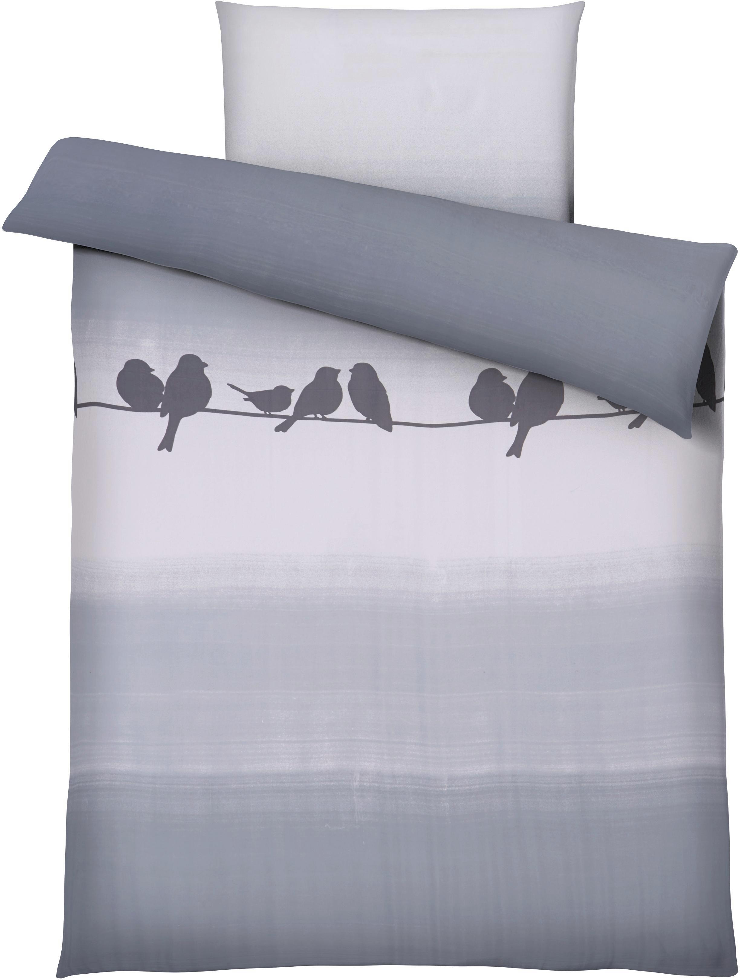 Bettwäsche Spatz in Grau ca. 135x200cm - Türkis, Textil (135/200cm) - MÖMAX modern living