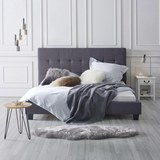 Bett Frederico ca.180x200cm - Dunkelgrau, MODERN, Holz/Textil (215/189/112cm) - Mömax modern living