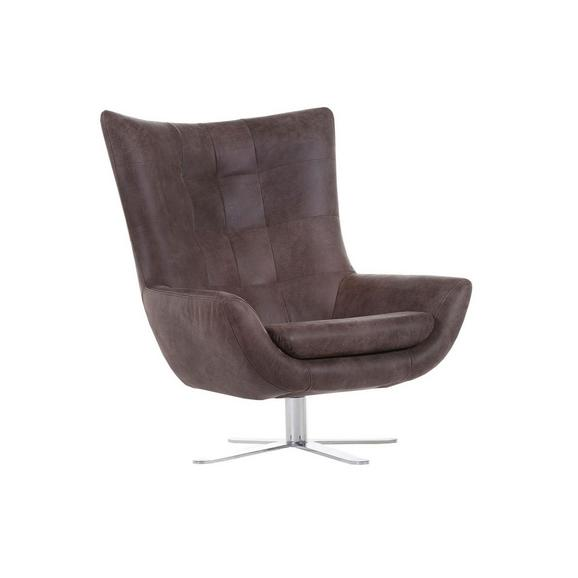 Sessel Venezuela Aus Echtleder - Dunkelbraun/Alufarben, LIFESTYLE, Textil/Metall (81/95/90cm) - Premium Living
