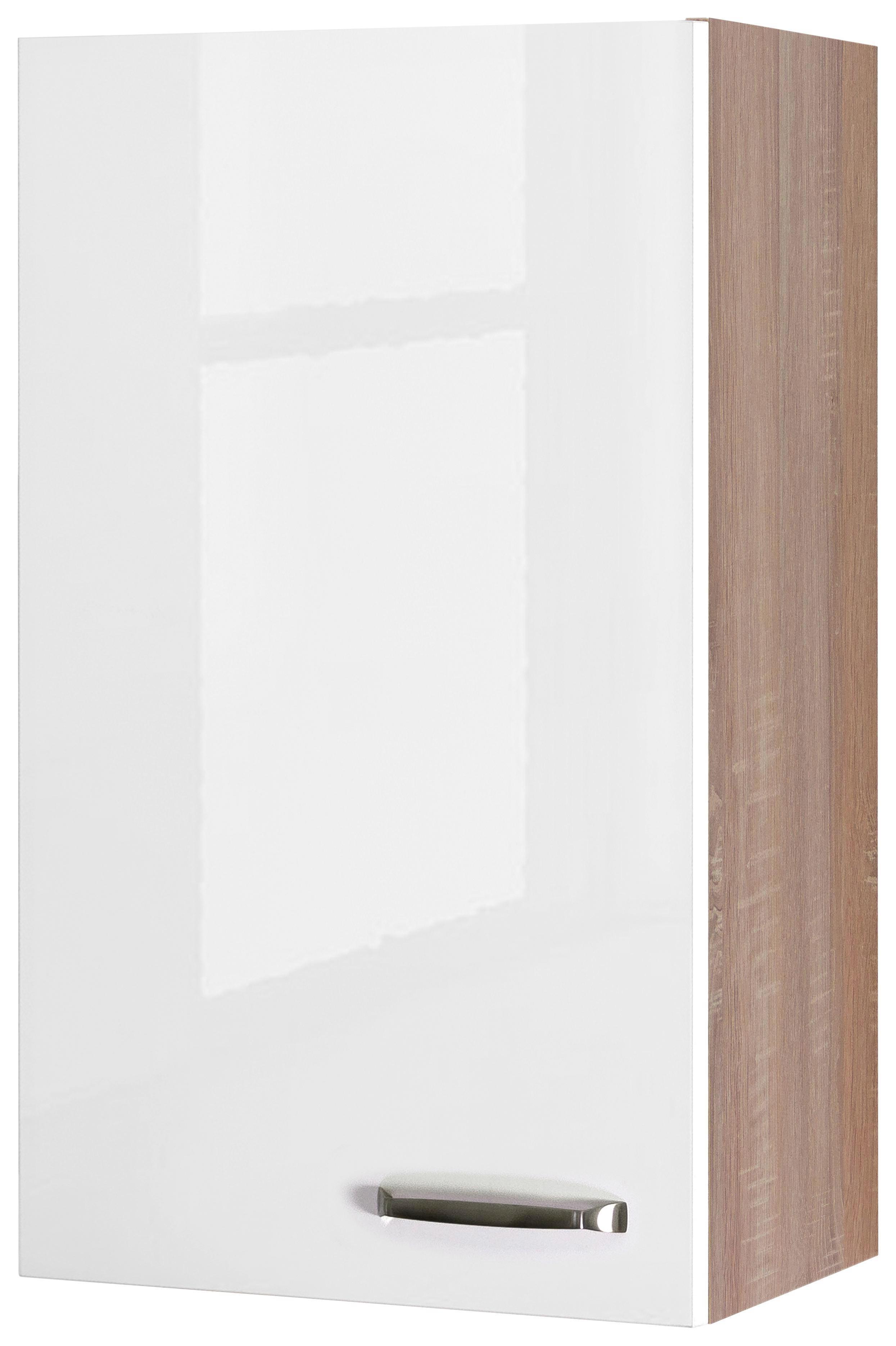 Küchenoberschrank Weiß Hochglanz/eiche - Edelstahlfarben/Eichefarben, MODERN, Holzwerkstoff/Metall (50/89/32cm)