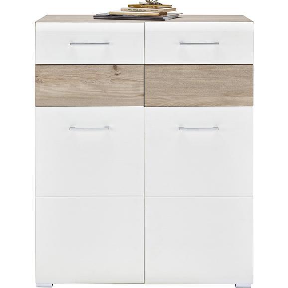 Schuhschrank in Weiß/Silbereichenfarben - Chromfarben/Weiß, MODERN, Holz/Holzwerkstoff (85/105/40cm) - Premium Living