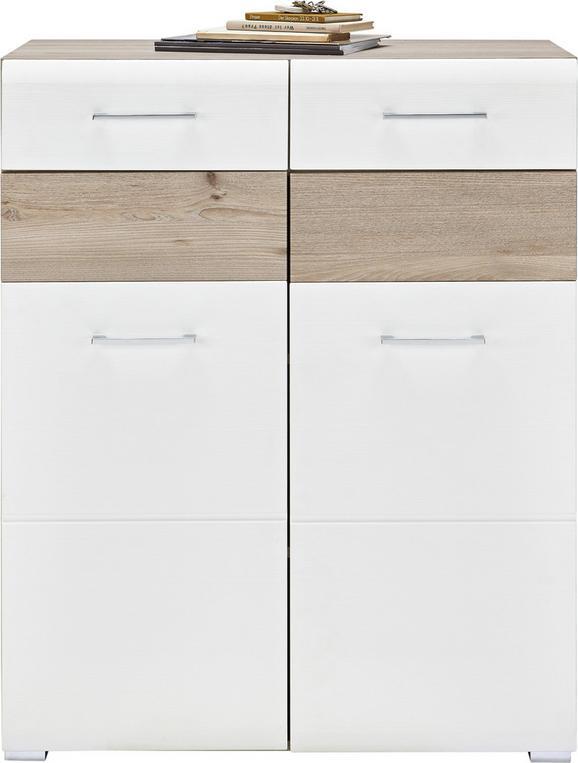 Schuhschrank Weiß/Silbereichenfarben - Chromfarben/Weiß, MODERN, Holz/Holzwerkstoff (85/105/40cm) - Premium Living
