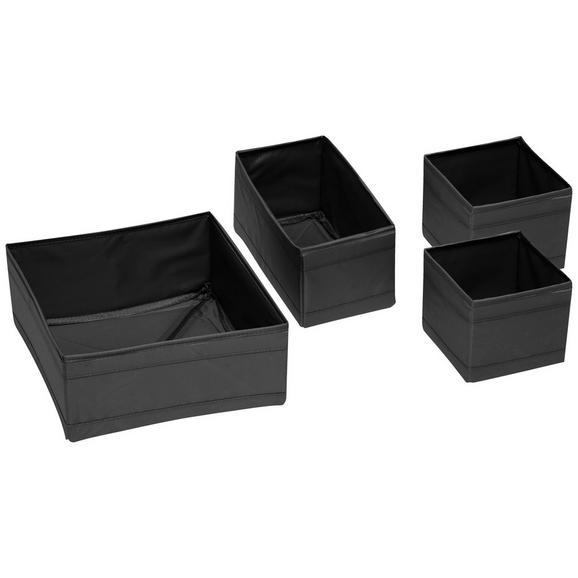 Aufbewahrungsboxen-Set Tina in Schwarz, 4-teilig - Textil (28cm) - Mömax modern living