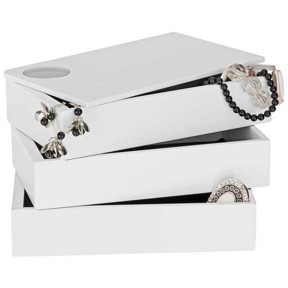 Cutie Pentru Bijuterii Joris - alb, Modern, compozit lemnos (19,1/11,8/12,7cm) - Modern Living