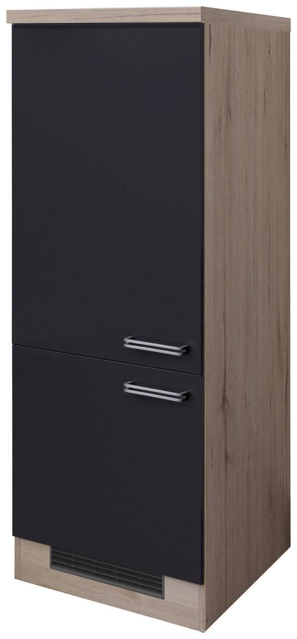 Geräteumbauschrank Anthrazit/Eiche - Edelstahlfarben/Eichefarben, MODERN, Holzwerkstoff/Metall (60/162/57cm)