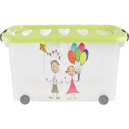 Aufbewahrungsbox Kiddys in Grün ca. 45l - Transparent/Grün, Kunststoff (60/38/32cm)