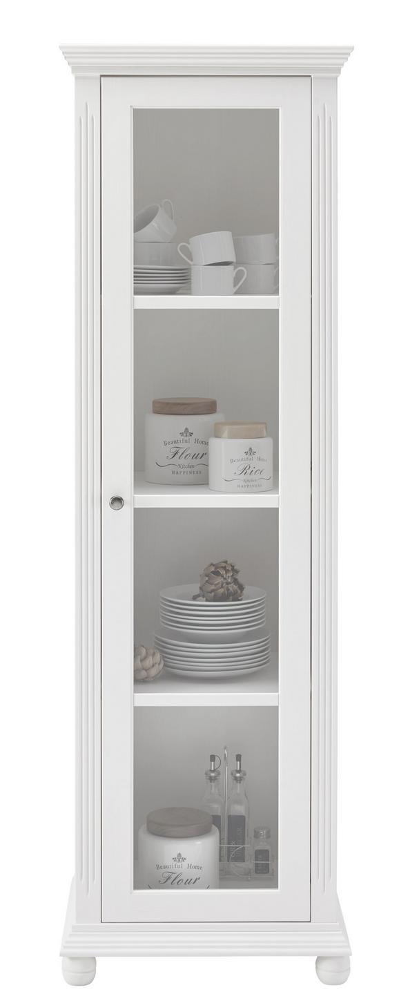 Vitrine Weiß - Schwarz/Weiß, Holz/Metall (56/180/45cm) - Zandiara