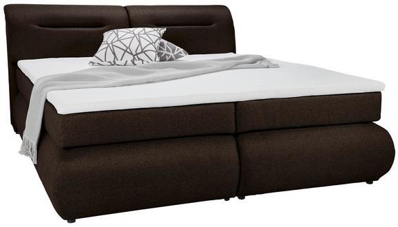 Boxspringbett Dunkelbraun ca.160x200cm - Dunkelbraun/Schwarz, Kunststoff/Textil (240/170/100cm) - Premium Living