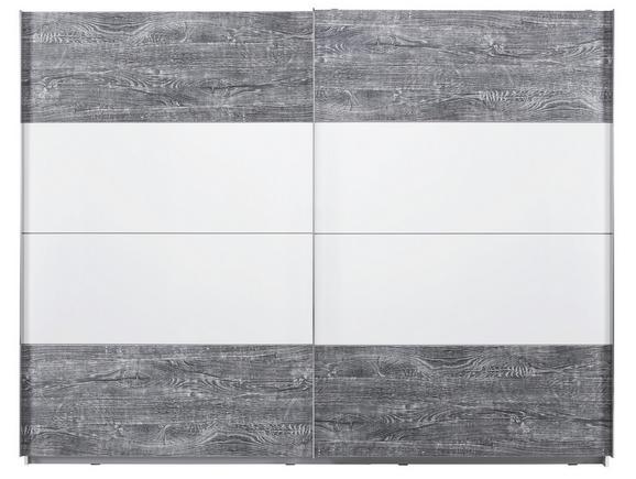 Tolóajtós Szekrény Lissabon - tölgy színű/fehér, konvencionális, műanyag/fém (270/210/62cm) - MODERN LIVING