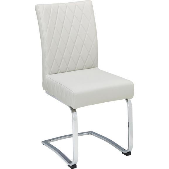 Nihajni Stol Diamond - krom/svetlo siva, Design, kovina/tekstil (44/97/61cm) - Modern Living