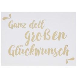 Postkarte Glückwunsch - Goldfarben/Weiß, Papier (14,8/10,5cm)