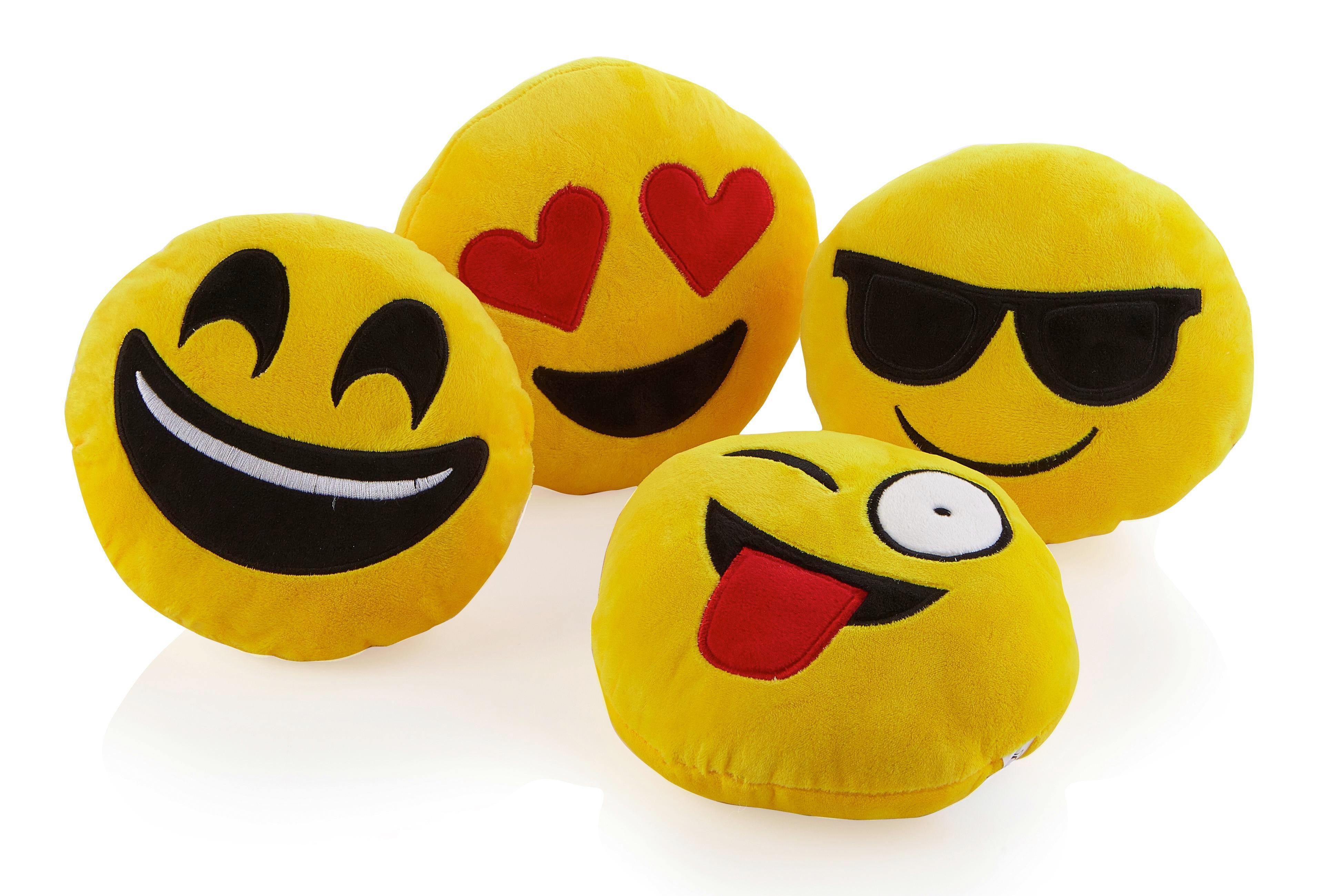 Díszpárna Emoji - sárga, textil (20cm) - MÖMAX modern living