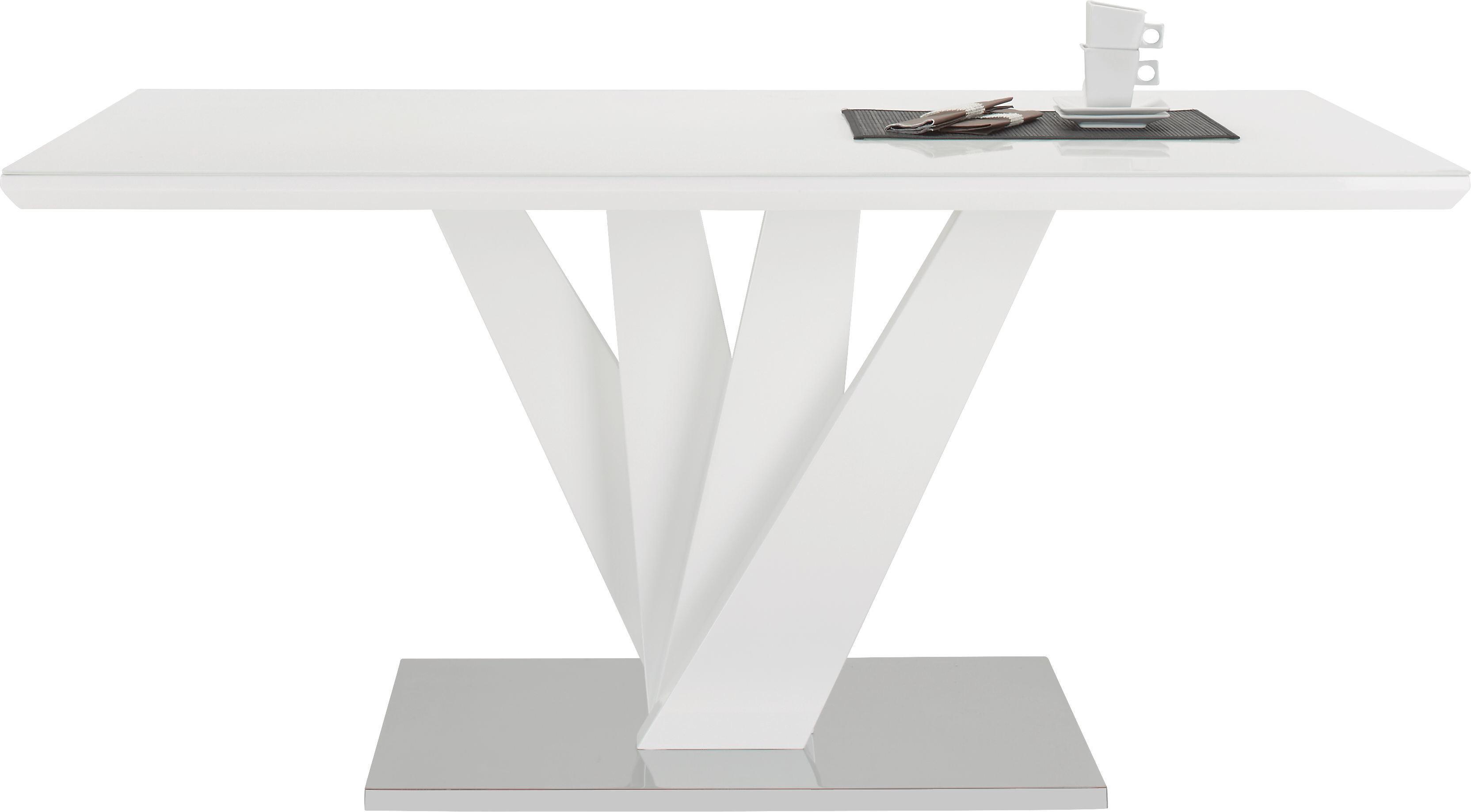 Esstisch in Weiß Hochglanz - Edelstahlfarben/Weiß, MODERN, Glas/Holzwerkstoff (160/76/90cm) - MÖMAX modern living