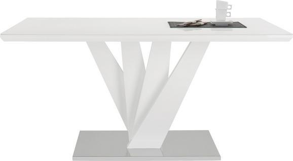 ESSTISCH Weiß Hochglanz - Edelstahlfarben/Weiß, MODERN, Glas/Holzwerkstoff (160/76/90cm) - MÖMAX modern living