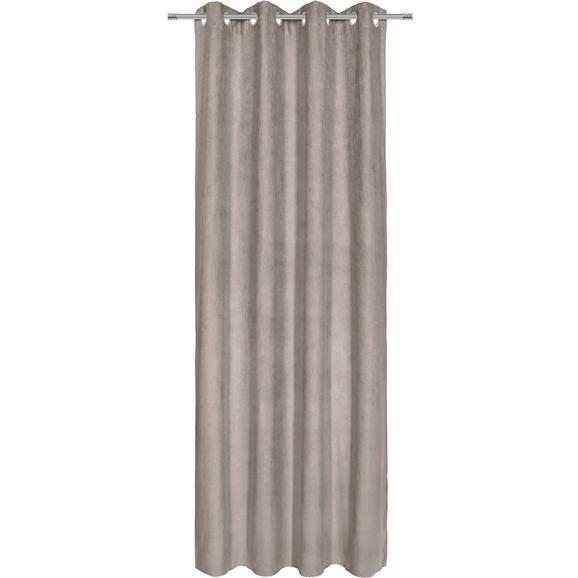 Zavesa Z Obročki Velours -top- - siva, Konvencionalno, tekstil (140/245cm) - Mömax modern living