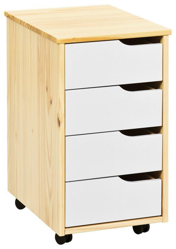 Rollcontainer Naturfarben - Naturfarben/Weiß, MODERN, Holz/Holzwerkstoff (37/65/45cm) - Zandiara