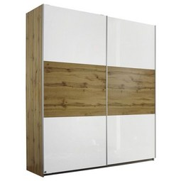 Schwebetürenschrank in Weiß Hochglanz - Eichefarben/Alufarben, Holz/Holzwerkstoff (175/210/59cm) - Modern Living