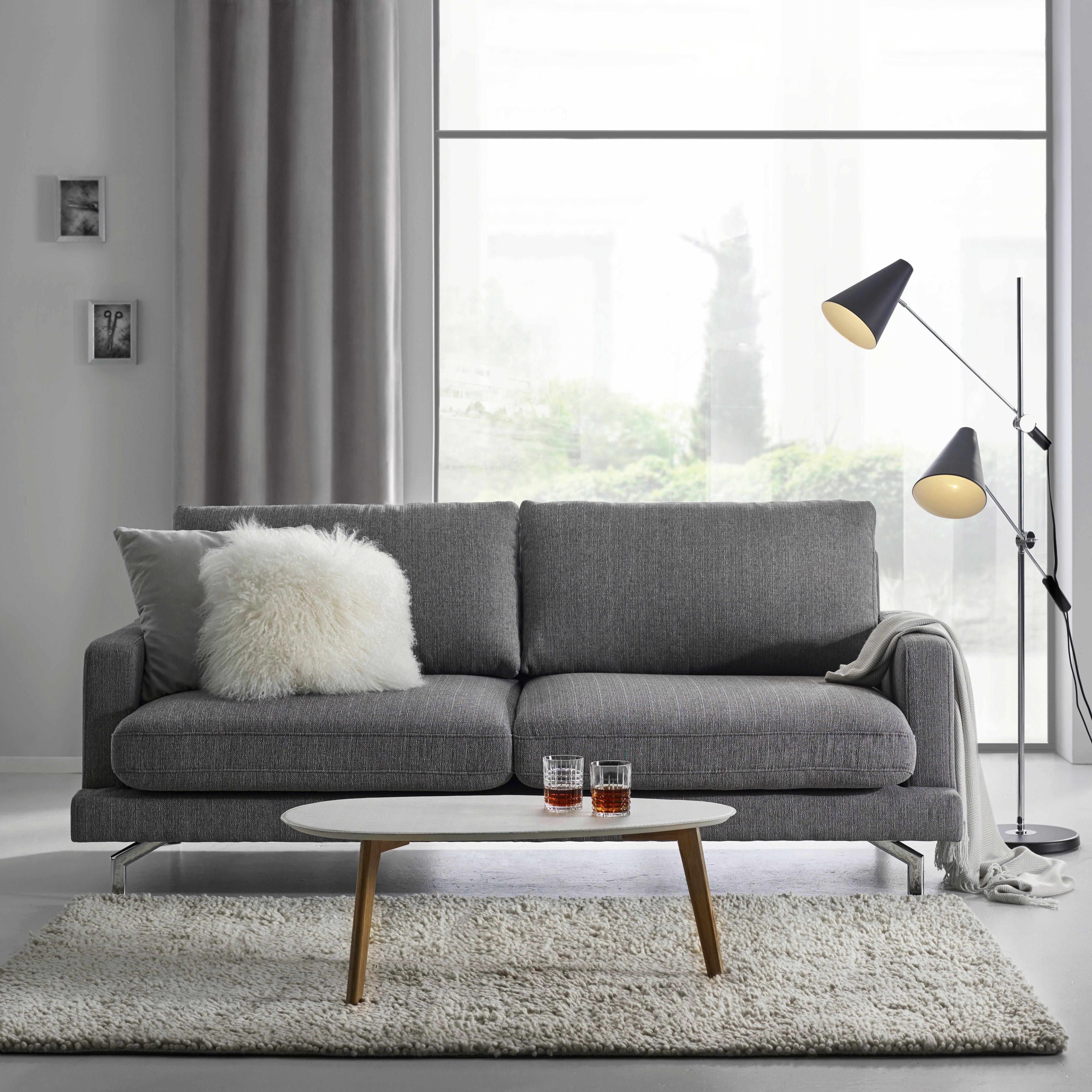 Dreisitzer Sofa Boss - Chromfarben/Grau, KONVENTIONELL, Textil/Metall (205/88/99cm) - LANDSCAPE