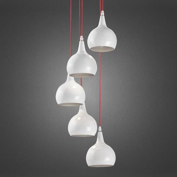 Pendelleuchte Sophie 5-flammig - Silberfarben/Weiß, MODERN, Metall (25/20cm) - Premium Living