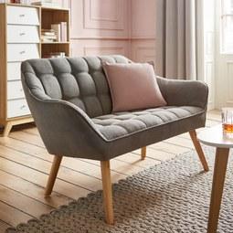 Zweisitzer Sofa Monique - Grau, MODERN, Holz/Textil (127/76/74,5cm) - MÖMAX modern living