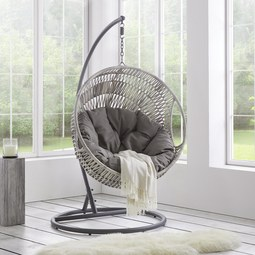 Hängesessel Sena - Dunkelgrau/Grau, MODERN, Kunststoff/Textil (108/186/120cm) - Modern Living