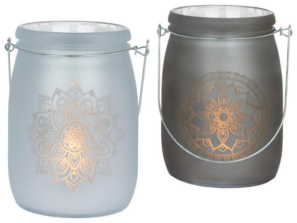 Windlicht Mandala verschiedene Designs - Beige, Glas (11/16cm)