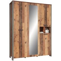 Kleiderschrank in Braun mit Spiegel - Dunkelgrau/Schwarz, MODERN, Holzwerkstoff/Kunststoff (156,4/204,7/52,3cm) - Premium Living