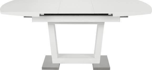 Esstisch Weiß/edelstahlfarben - Edelstahlfarben/Weiß, MODERN, Holzwerkstoff/Metall (140-180/76/90cm) - Mömax modern living