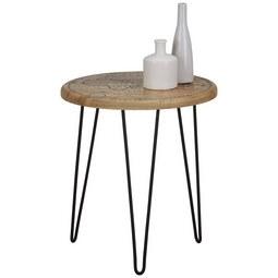 Beistelltisch Schwarz/Naturfarben - Multicolor/Schwarz, LIFESTYLE, Holz/Metall (40/45cm) - Modern Living