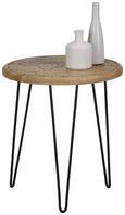 Beistelltisch Schwarz/Naturfarben - Multicolor/Schwarz, Trend, Holz/Metall (40/45cm) - Modern Living